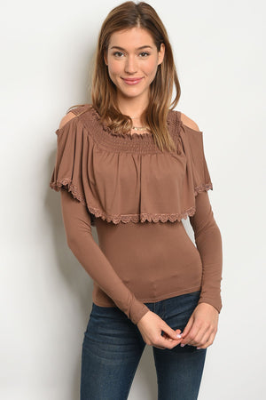 Long Sleeve, Ruffled Mocha Top with open shoulders