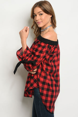 Red Black Checkered Top