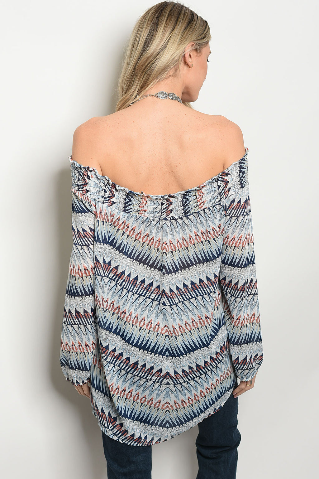 Blue Multi Color Off Shoulder Top