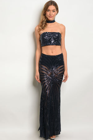 Navy With Sequins choker neck halter top with maxi skirt.