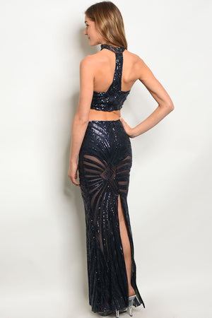 Navy With Sequins choker neck halter top with maxi skirt.  Split up the back of the skirt.