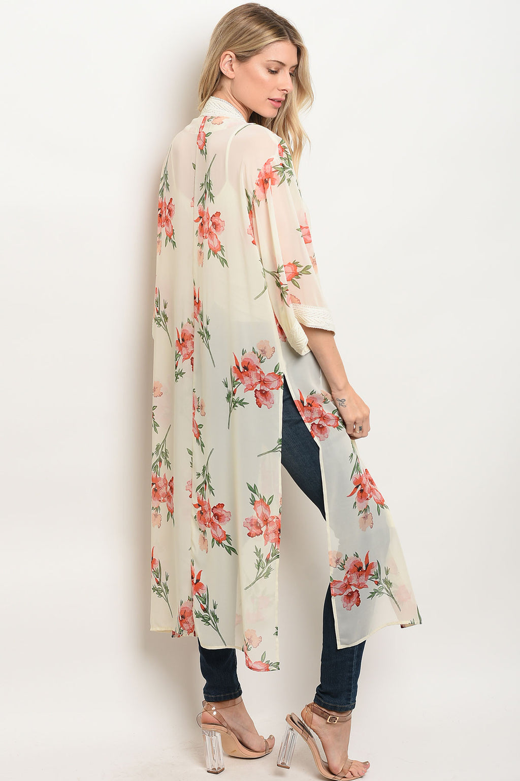 Cream Floral Kimono With Open Front. Flutter long sleeve.