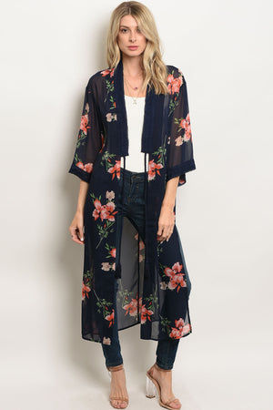 Navy blue with pink floral flutter sleeve open front long kimono