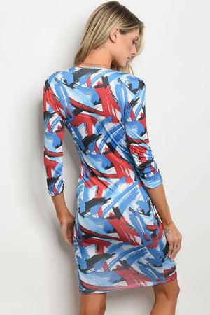 Long Sleeve blue, black and red multi color dress. Deep cut neckline.
