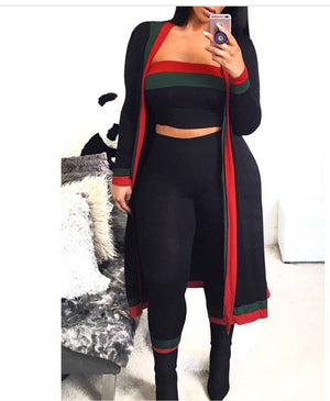 Fashionable Black two piece pants set with coat