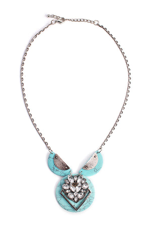 Burnish Silver Turquoise Round Stone Necklace. Clear Glass Stone