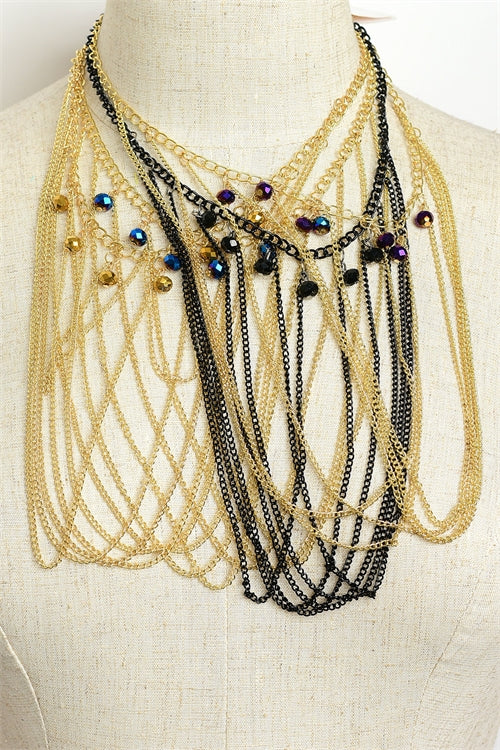 Stone Chain Drop Necklaces