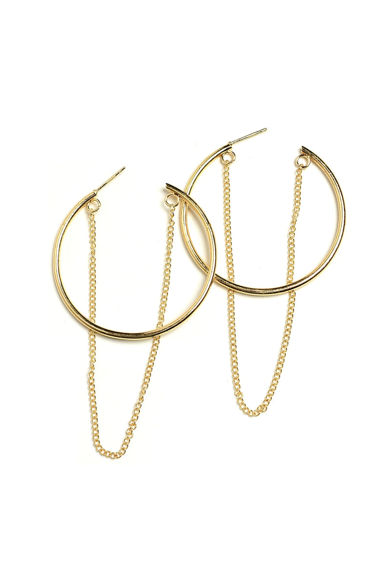 Gold Hoop Earrings with Looped Drop Chain.