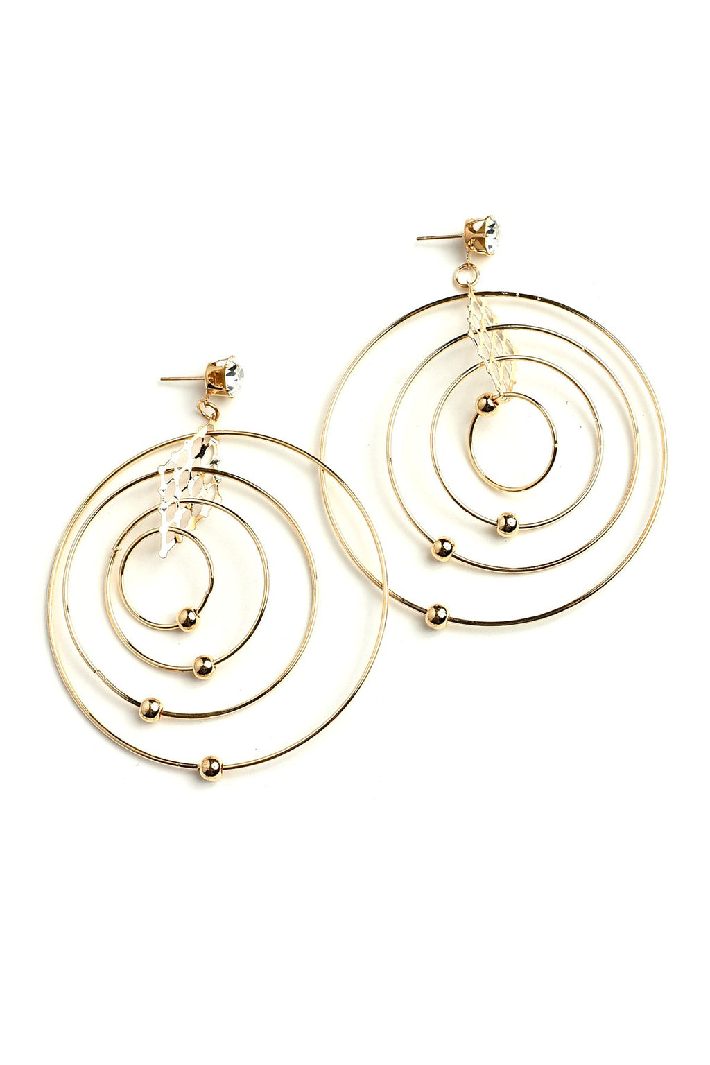 Gold Multi Hoop Pearl & Stone Earrings.
