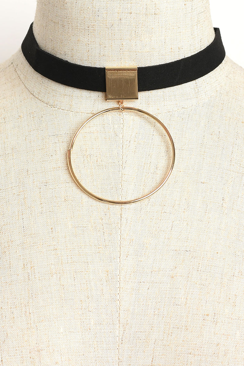 Black Choker Necklace with Gold Hoop