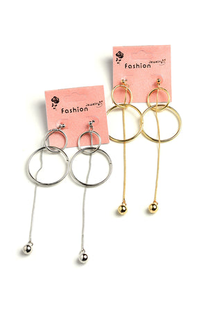 Double Hoop Drop Dangling Chain Earrings. Comes in Gold or Silver.