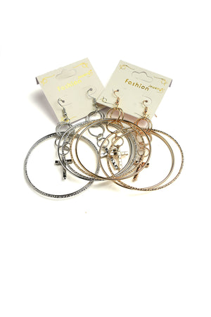 Gold & Silver Cross Shape Hoop Earrings