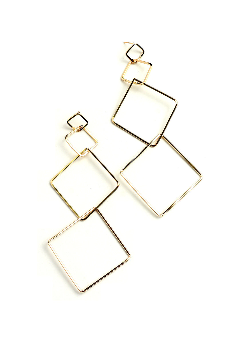 Gold Triple Square Design Drop Earrings.