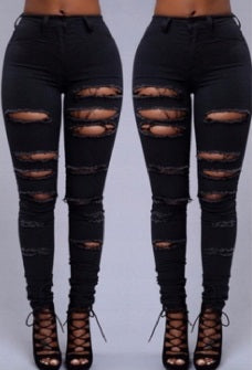 High Waist Black Denim Jeans
