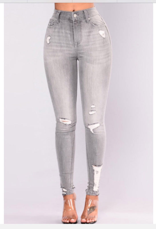 High Waist Light Grey Denim Jeans