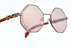 Brown Rose Tint - Flash Silver Mirror - Diamond Cut Lenses - DaVinci