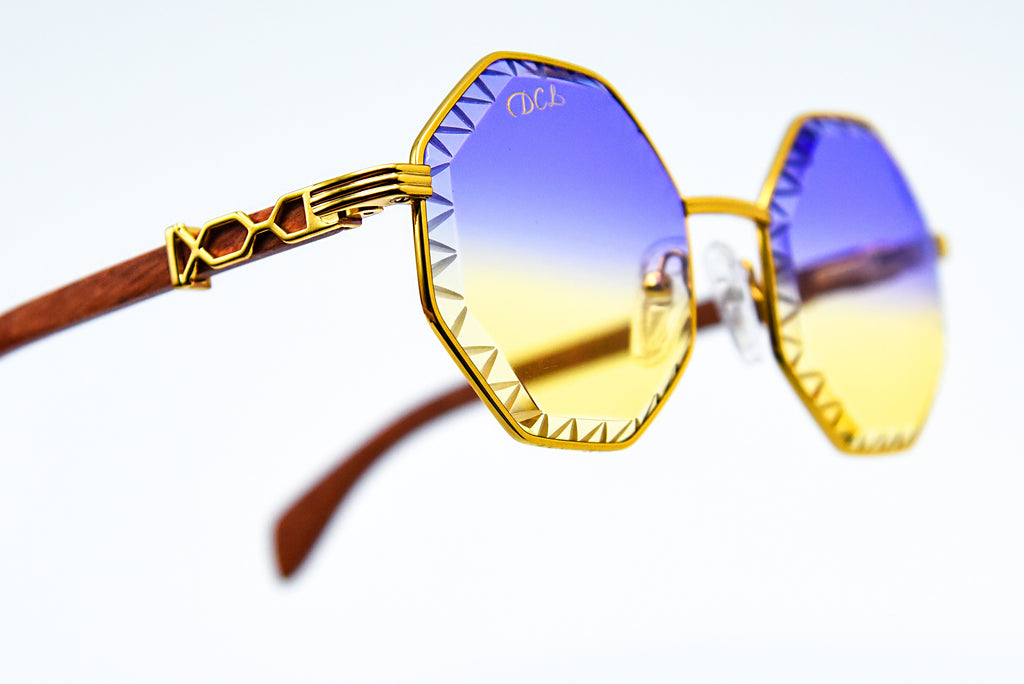 Purple Yellow Fade - Diamond Cut Lenses - DaVinci