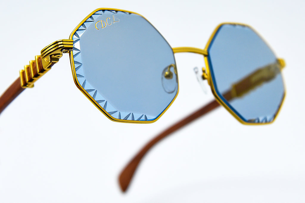 Solid Blue Tint - Flash Gold Mirror - Diamond Cut Lenses - DaVinci