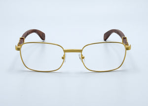 "Clear Lenses - Gold ""X"" - Burl Wood - MICHELANGELO"