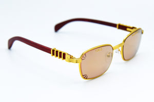 Brown Rose Fade Tint - Solid Gold Mirror - Diamond Cut Lenses -  Michelangelo