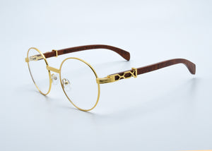 "Clear Lenses - Gold ""X"" - Burl Wood - PICASSO"