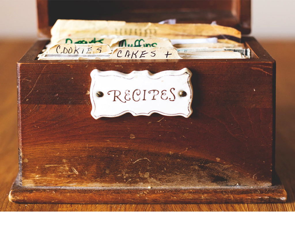 Antique recipe box with recipes