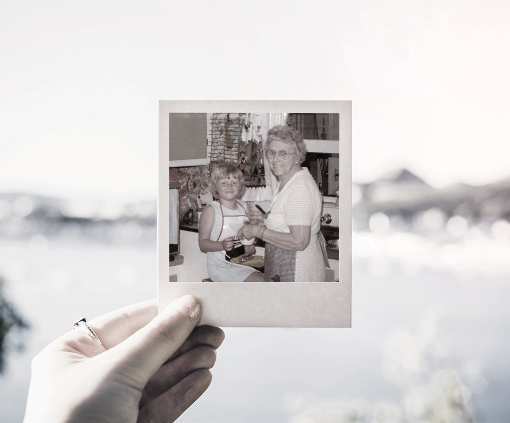 Polaroid photo of grandmother and granddaughter