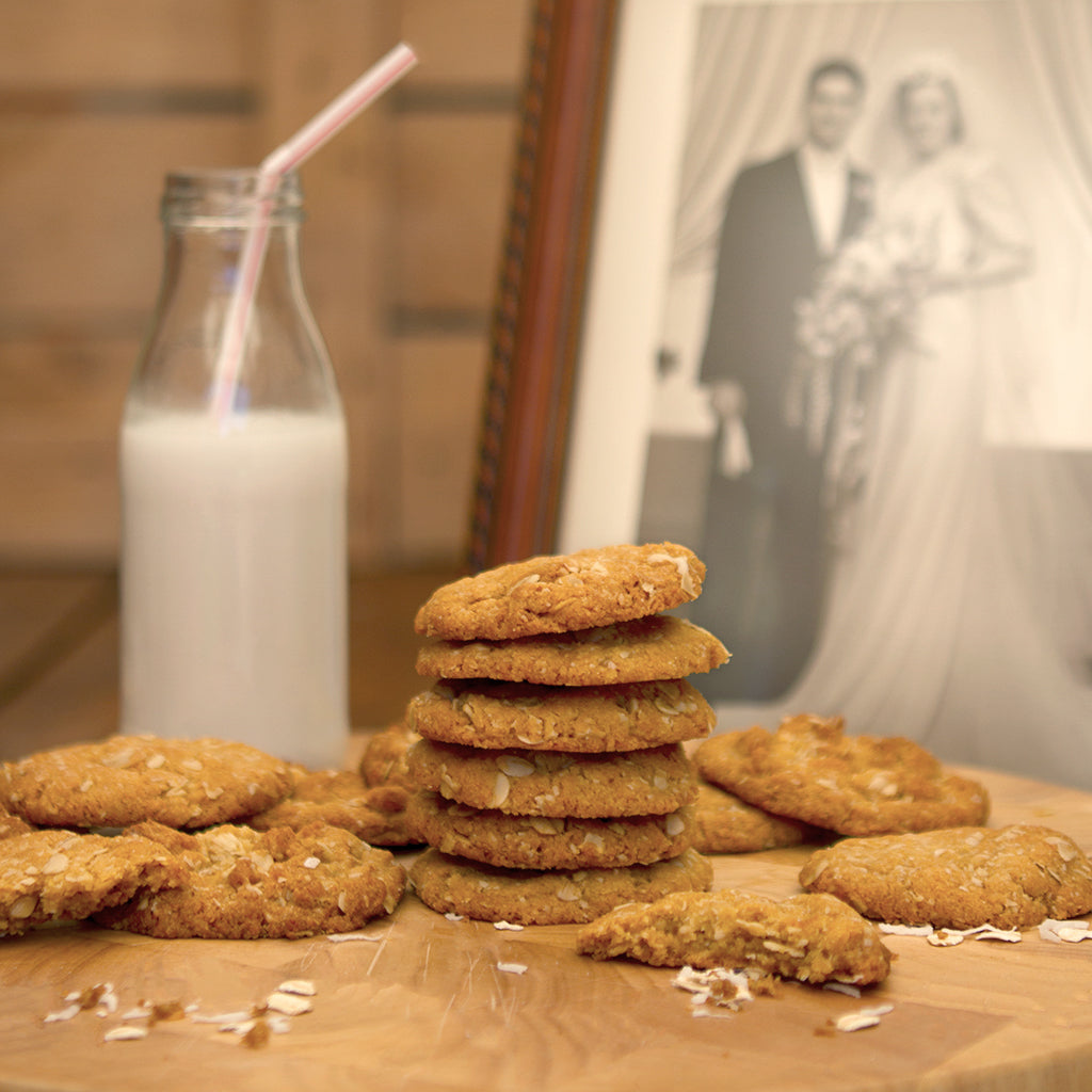 Chewy Anzac Biscuits in Front of Antique Wedding Photo