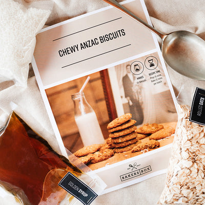 Chewy Anzac Biscuits Ingredients Flat Lay