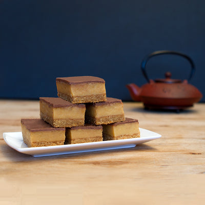 Classic Chocolate Caramel Slice and Teapot
