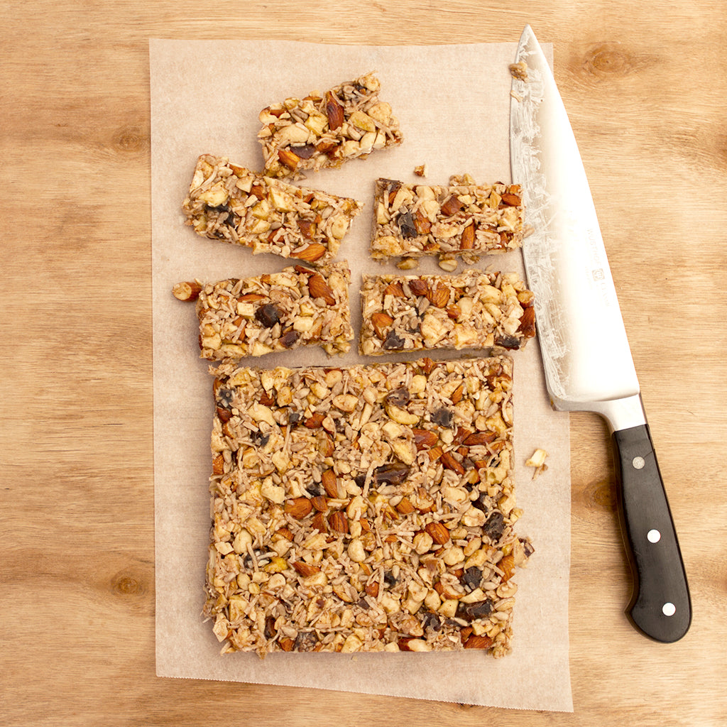 No Bake Honey, Fruit and Nut Bars and Knife