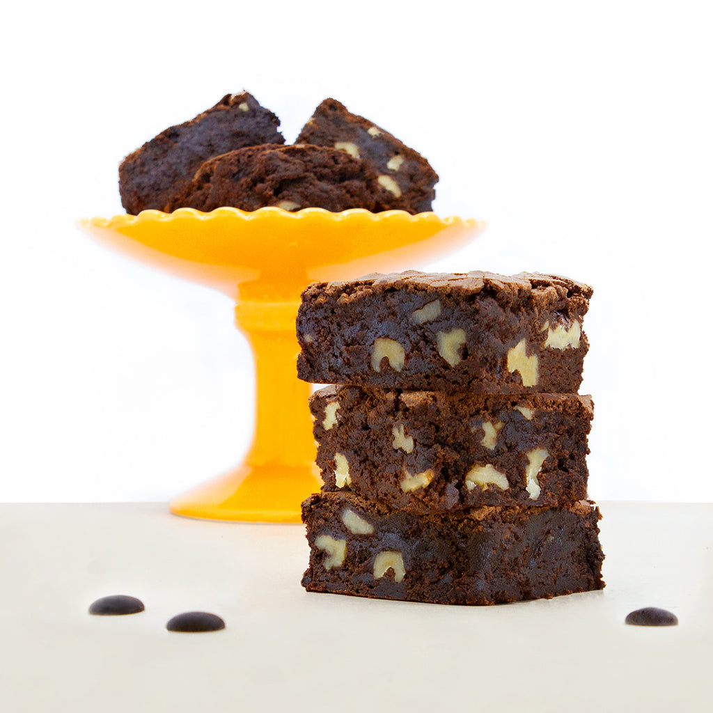 Rich Chocolate Walnut Brownies and Orange Stand
