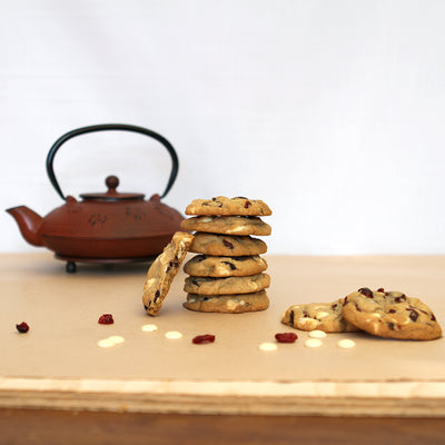 White Chocolate and Cranberry Cookies and Teapot