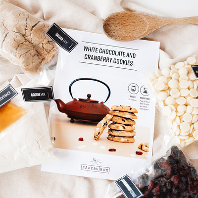 White Chocolate and Cranberry Cookies Ingredients Flat Lay