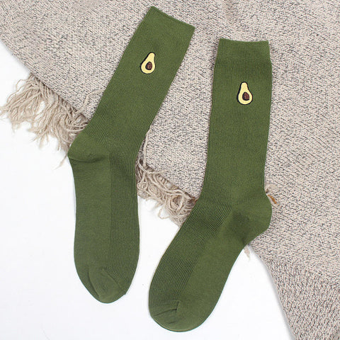 Embroidered Cartoon Avocado Socks-Avocado Design Store