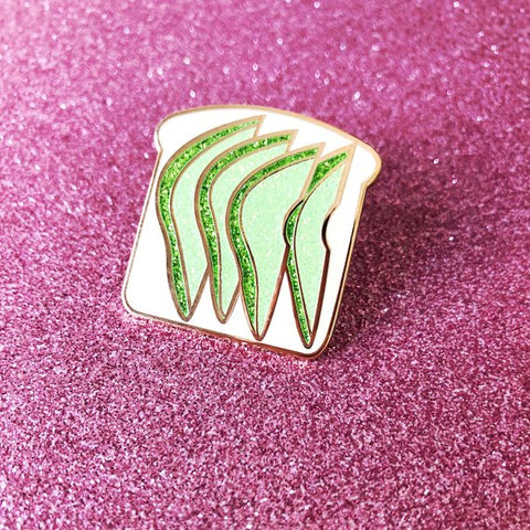 Glittery Avocado Toast Enamel Pin