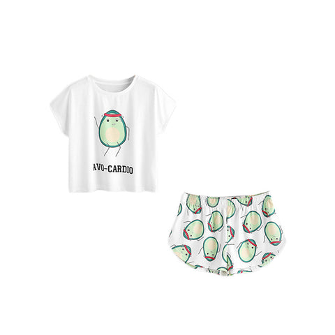 Cartoon Avocado Print Short Sleeve Tee and Elastic Waist Shorts Set-XS-Avocado Design Store