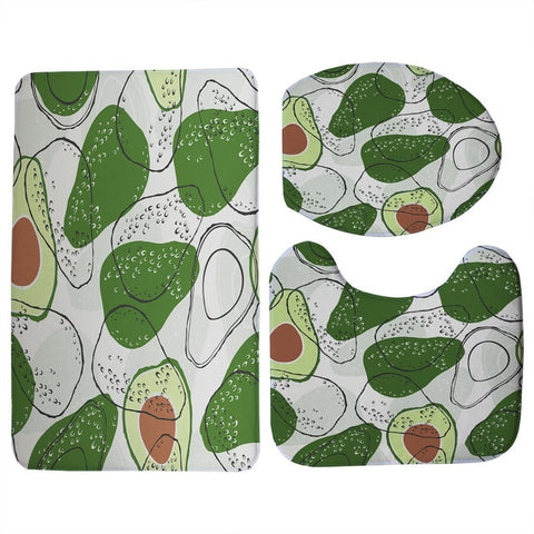 Simple Avocado Print 3 Piece Bathroom Set-Avocado Design Store