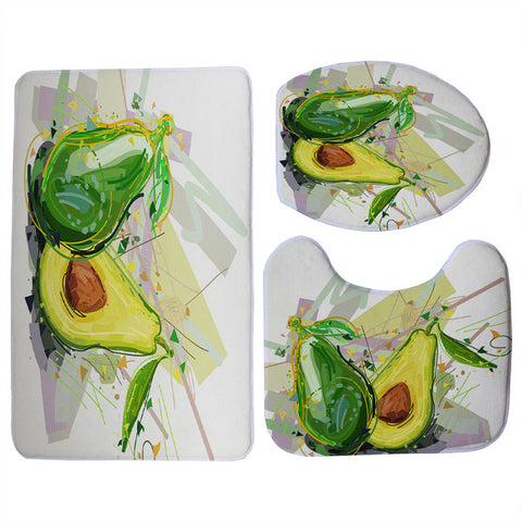 Artistic Avocado Print 3 Piece Toilet Seat Cover and Mat and Non-Slip Floor Mat Set-Avocado Design Store