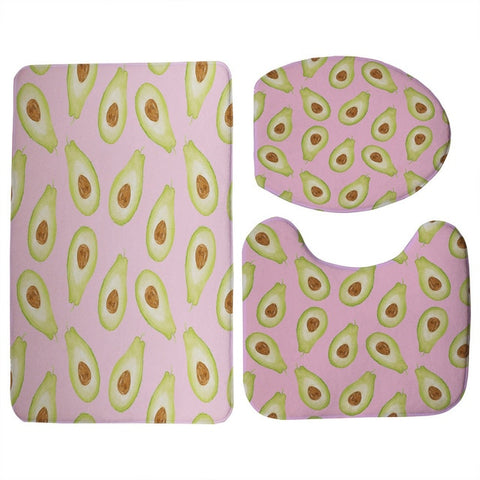 Sweet Avocado Print 3 Piece Toilet Seat Cover and Mat and Non-Slip Floor Mat Set-Avocado Design Store