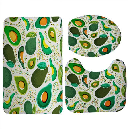 Graphic Avocado Print 3 Piece Toilet Seat Cover and Mat and Non-Slip Floor Mat Set-Avocado Design Store