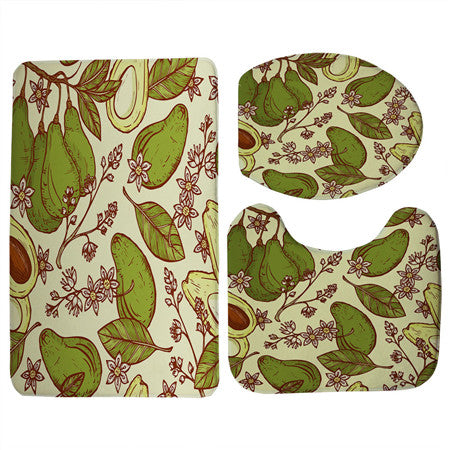 Vintage Avocado Print 3 Piece Toilet Seat Cover and Mat and Non-Slip Floor Mat Set-Avocado Design Store