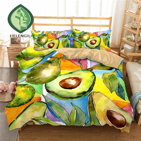 Artistic Avocado Print Duvet Set Cover-US twin-China-Avocado Design Store