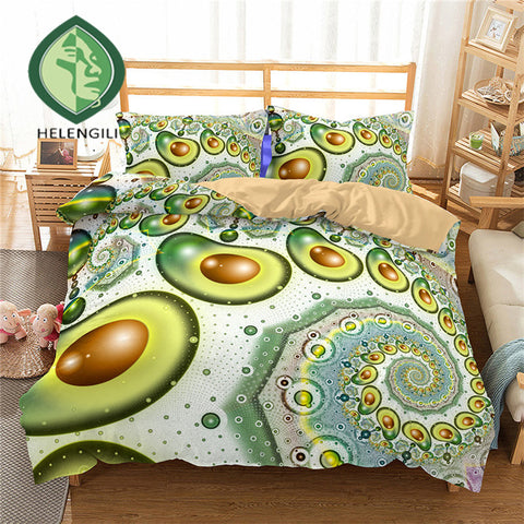 Spiral Avocado Print Duvet Set Cover-US twin-China-Avocado Design Store