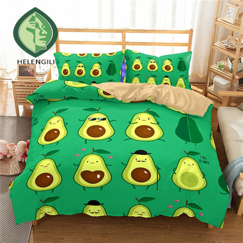 Witty Avocado Print Duvet Set Cover-US twin-China-Avocado Design Store