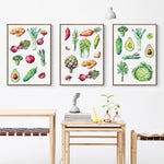 Healthy Food Groups Canvas-50x70 cm NO Frame-Green-Avocado Design Store