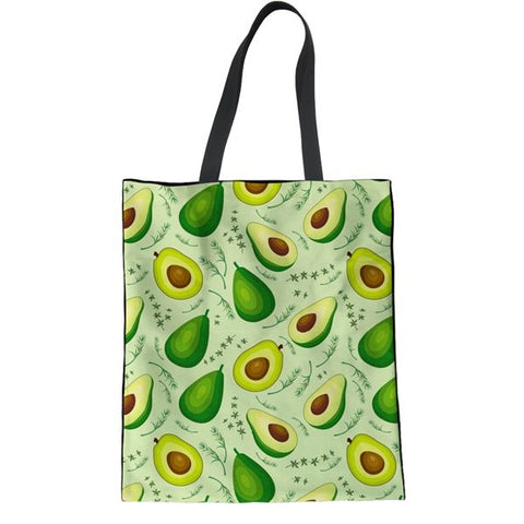 Avocado Tote Bags-Avocado Mosaic - green background-Avocado Design Store