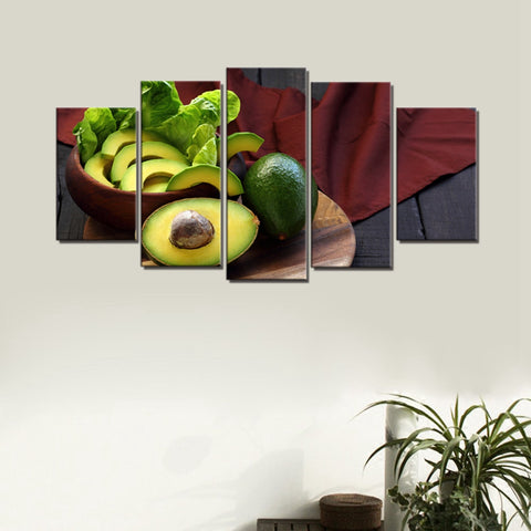 Avocado Print 5 Panel Kitchen Canvas-30x40 30x60 30x80 cm-Yellow-Avocado Design Store