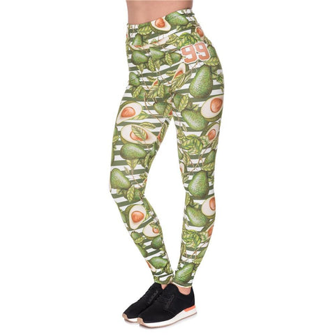Graphic Avocado Print Yoga Pants-Avocado Design Store