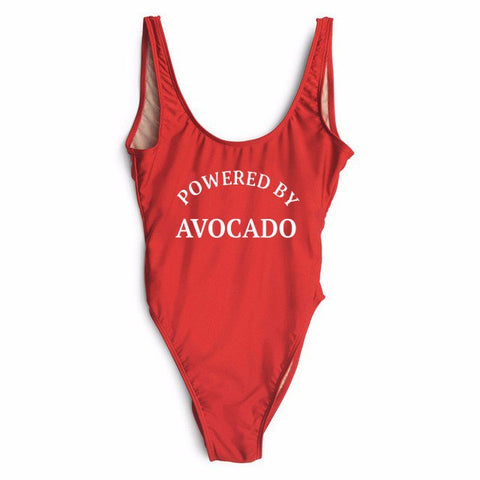 Powered by Avocado Swimsuit-Purple red-S-Avocado Design Store